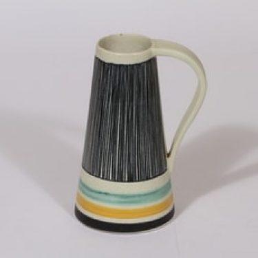 Kupittaan savi maljakko, käsinmaalattu, suunnittelija Orvokki Laine, käsinmaalattu, funktionalismi