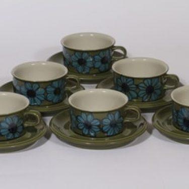 Arabia S teekupit, käsinmaalattu, 6 kpl, suunnittelija Hilkka-Liisa Ahola, käsinmaalattu, signeerattu