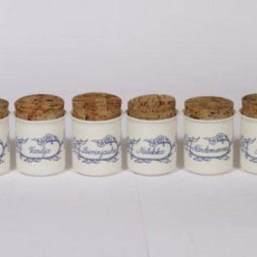 Arabia Sininen keittiö maustepurkit, valkoinen, 6 kpl, suunnittelija Raija Uosikkinen,