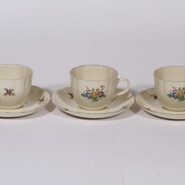 Arabia kukkakuvio coffee cup, 3 pcs, flower theme