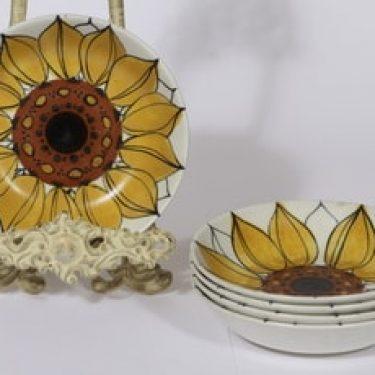 Arabia Aurinkoruusu lautaset, syvä, 5 kpl, suunnittelija Hilkka-Liisa Ahola, syvä, käsinmaalattu, signeerattu