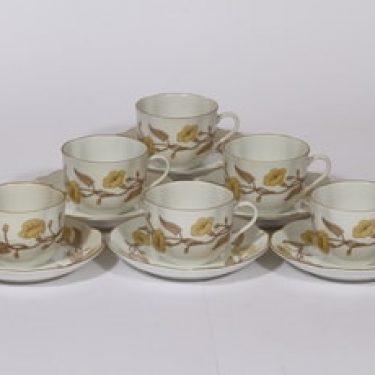 Arabia Karoliina kahvikupit, 6 kpl, suunnittelija , serikuva, kukka-aihe