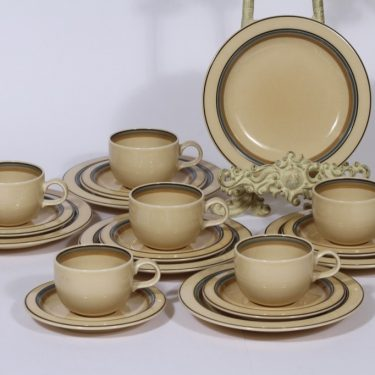 Arabia Taika coffee cup, saucer and plate, 6 pcs, silk screening