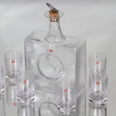 Iittala Mini karahvi ja lasit, kirkas, 6 kpl, suunnittelija Tapio Wirkkala, pieni