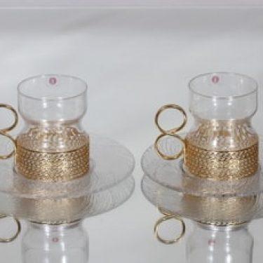 Iittala Tsaikka teelasit ja lautaset, 23 cl, 2 kpl, suunnittelija Timo Sarpaneva, 23 cl, kullattu