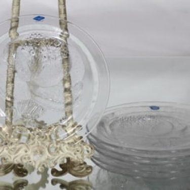 Nuutajärvi Pioni lautaset, kirkas, 6 kpl, suunnittelija Oiva Toikka,