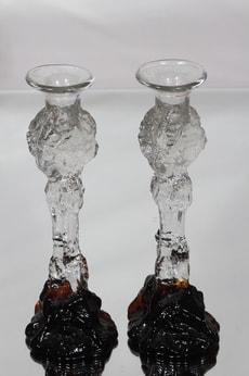 Humppila kynttilänjalat, ruskea-kirkas, 2 kpl, suunnittelija Pertti Santalahti,