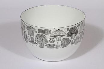 Finel Tatti kulho, mustavalkoinen, suunnittelija Esteri Tomula, serikuva, sieniaihe