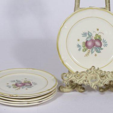 Arabia Sylvi lautaset, 6 kpl, suunnittelija Kaarina Aho, pieni, siirtokuva, hedelmäaihe
