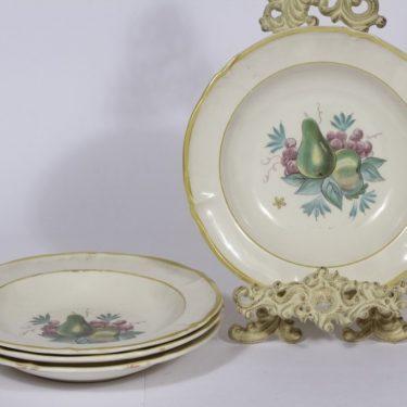 Arabia Sylvi lautaset, syvä, 4 kpl, suunnittelija Kaarina Aho, syvä, siirtokuva, hedelmäaihe