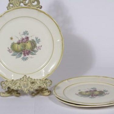 Arabia Sylvi lautaset, matala, 3 kpl, suunnittelija Kaarina Aho, matala, siirtokuva, hedelmäaihe