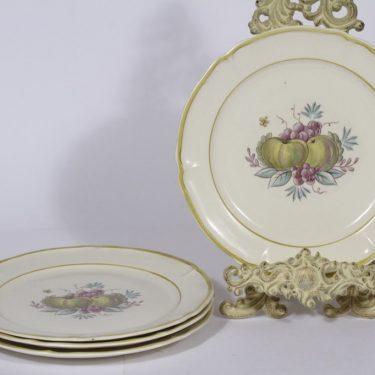Arabia Sylvi lautaset, matala, 4 kpl, suunnittelija Kaarina Aho, matala, siirtokuva, hedelmäaihe