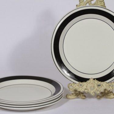 Arabia Faenza lautaset, 4 kpl, suunnittelija Inkeri Seppälä, matala, raitakoriste