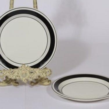 Arabia Faenza lautaset, 2 kpl, suunnittelija Inkeri Seppälä, pieni, raitakoriste