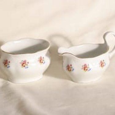 Arabia DK/E sokerikko ja kermakko, kukkakuvio, suunnittelija , kukkakuvio