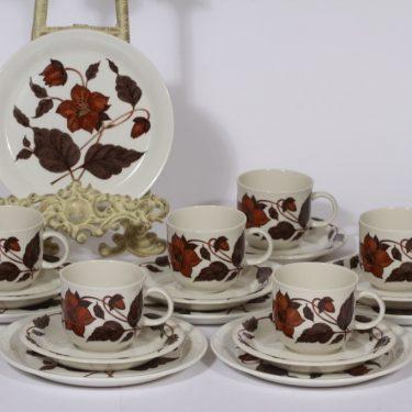 Arabia Cafe coffee cup, saucer and plate, brown, 6 pcs, Gunvor Olin-Grönqvist