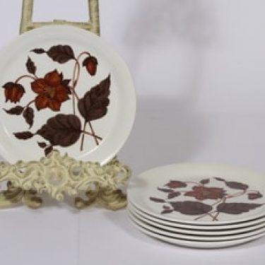 Arabia Cafe leivoslautaset, ruskea, 6 kpl, suunnittelija Gunvor Olin-Grönqvist, serikuva