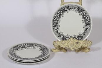 Arabia Talvikki lautaset, mustavalkoinen, 4 kpl, suunnittelija Raija Uosikkinen, pieni, serikuva