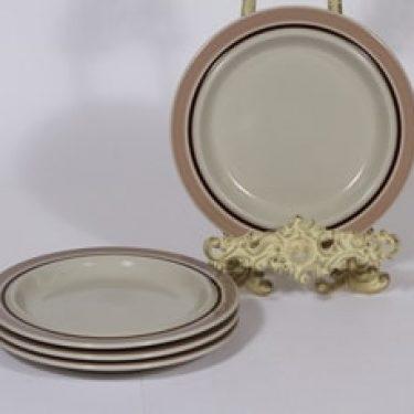 Arabia Koralli lautaset, matala, 4 kpl, suunnittelija Raija Uosikkinen, matala, pieni, raitakoriste