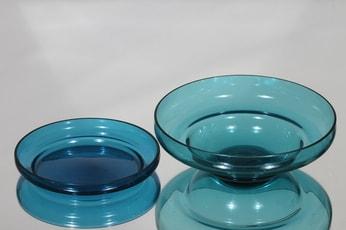 Riihimäen lasi Pomona kulhot, eri kokoja, 2 kpl, suunnittelija Helena Tynell, eri kokoja