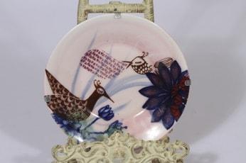 Arabia koristelautanen, käsinmaalattu, suunnittelija Heini Riitahuhta, käsinmaalattu, pieni, signeerattu, uniikki
