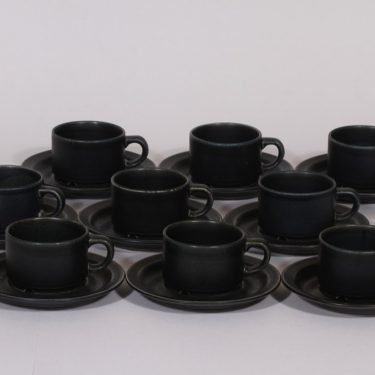 Arabia Korpi kahvikupit, tumman sininen, 9 kpl, suunnittelija Göran Bäck,