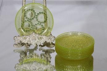 Riihimäen lasi Grapponia lautaset, keltainen, 7 kpl, suunnittelija Nanny Still, pieni