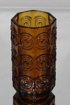 Riihimäen lasi Rengas maljakko, ruskea, suunnittelija Tamara Aladin, massiivinen, retro