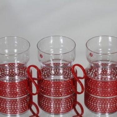 Iittala Tsaikka teemukit, 23 cl, 3 kpl, suunnittelija Timo Sarpaneva, 23 cl, metallikahva, punainen