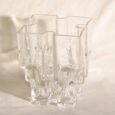 Riihimäen lasi Paalutalo maljakko, signeerattu, suunnittelija Helena Tynell, signeerattu