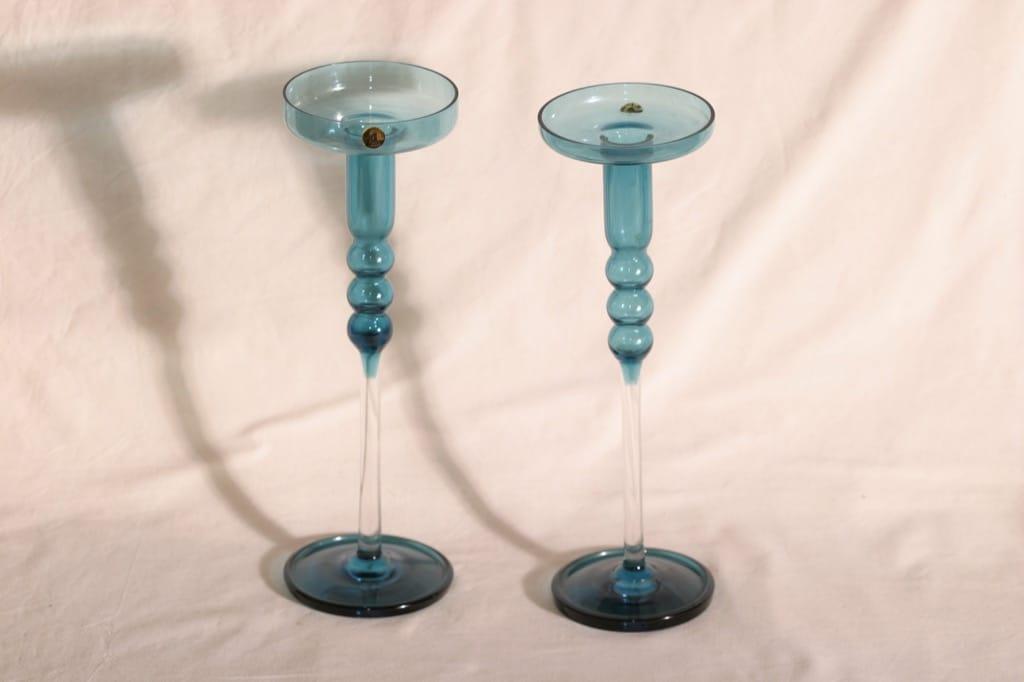 Riihimäen lasi Tzarina kynttilänjalat, sininen, 2 kpl, suunnittelija Nanny Still,