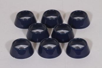 Arabia Kilta munarenkaat, sininen lasite, 8 kpl, suunnittelija Kaj Franck,