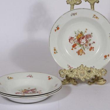 Arabia lautaset, syvä, 4 kpl, suunnittelija , syvä, kukka-aihe