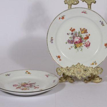 Arabia lautaset, matala, 3 kpl, suunnittelija , matala, kukka-aihe