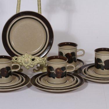 Arabia Ruija kahvikupit ja lautaset, käsinmaalattu, 4 kpl, suunnittelija Raija Uosikkinen, käsinmaalattu