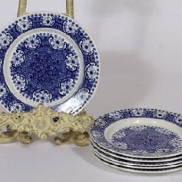 Arabia Ali lautaset, sininen, 6 kpl, suunnittelija Raija Uosikkinen, pieni, kuparipainokoriste