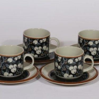 Arabia Taika kahvikupit, 4 kpl, suunnittelija Inkeri Seppälä, erikoiskoriste, retro