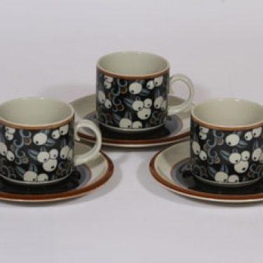 Arabia Taika kahvikupit, 3 kpl, suunnittelija Inkeri Seppälä, erikoiskoriste, retro