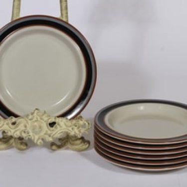 Arabia Taika lautaset, 7 kpl, suunnittelija Inkeri Seppälä, pieni, raitakoriste