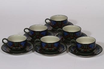 Arabia Kalevala kahvikupit, käsinmaalattu, 6 kpl, suunnittelija Peter Winqvist, käsinmaalattu, signeerattu, retro