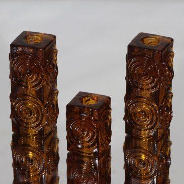 Riihimäen lasi Rengas kynttilänjalat, ruskea, 3 kpl, suunnittelija Tamara Aladin,