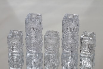 Riihimäen lasi Rengas kynttilänjalat, kirkas, 5 kpl, suunnittelija Tamara Aladin,