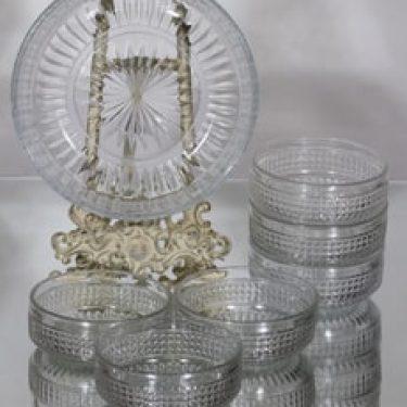 Riihimäen lasi Barokki kulho ja annoskulhot, kirkas, 6 kpl, suunnittelija Erkkitapio Siiroinen,