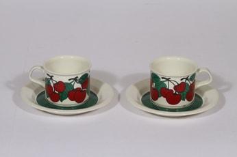 Arabia Kirsikka kahvikupit, punainen, 2 kpl, suunnittelija , serikuva