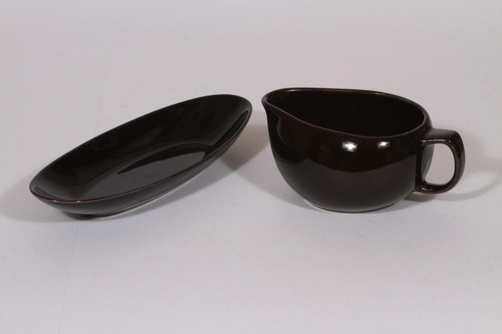 Arabia Kilta kastikekaadin ja sillivati, musta lasite, suunnittelija ,