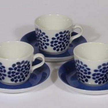 Arabia AA kahvikupit, sininen, 3 kpl, suunnittelija , puhalluskoriste, nimetön koriste