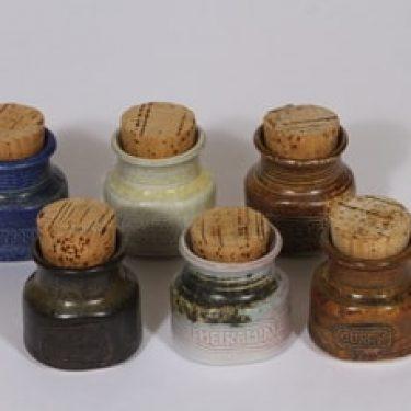 Arabia maustepurkit, käsinmaalattu, 6 kpl, suunnittelija Francesca Lindh, käsinmaalattu, pieni, signeerattu