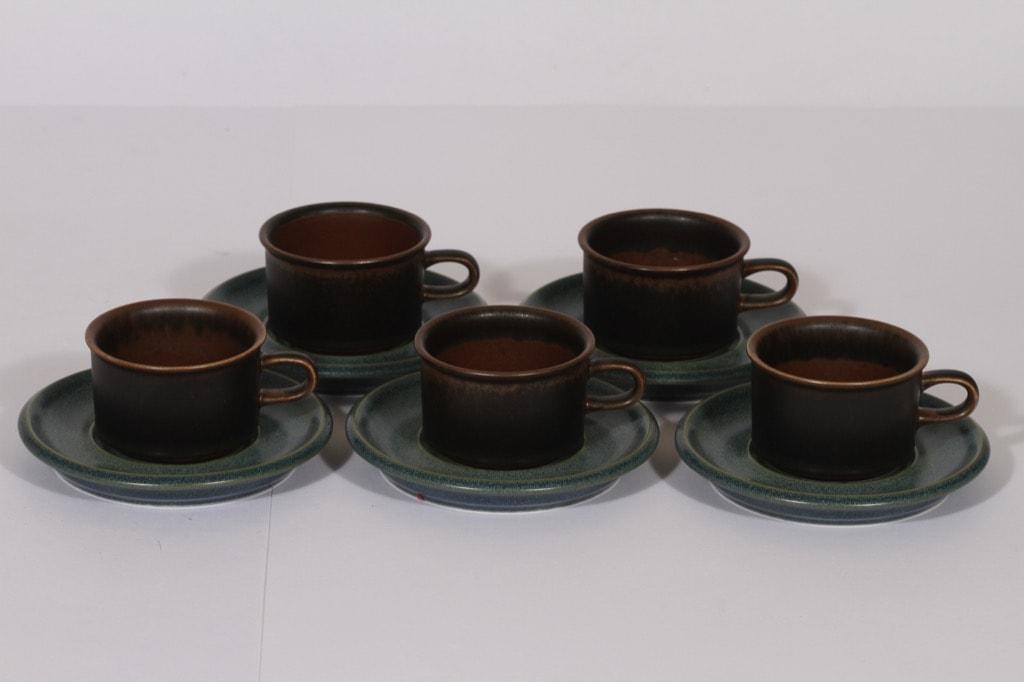 Arabia Ruska mocha cup, brown-turquoise, 5 pcs, Ulla Procope,