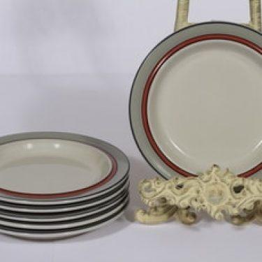 Arabia Aslak leivoslautaset, oranssi, 6 kpl, suunnittelija Inkeri Leivo, raitakoriste