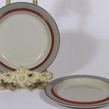 Arabia Aslak lautaset, oranssi, 2 kpl, suunnittelija Inkeri Leivo, pieni, raitakoriste
